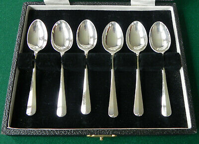 Set of 6 Solid Sterling Silver Guild of Handicraft Rat Tail Coffee Spoons, 1954
