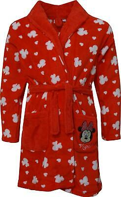 Girls HS2098 Disney Minnie Mouse Coral Fleece Dressing Gown Size: 3-8 Years