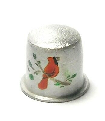 Hand Painted Red Cardinal Bird Shiny Pewter Thimble