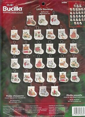 Weihnachts-Stickpackung   # Little Stockings, 30 kleine Motive, in Kreuzstich