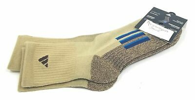 Adidas Mens Mid Crew Socks Large 6-12 Brown Cushioned 2 Pair Sports Athletic New