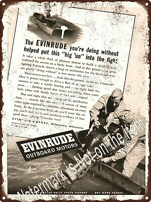"""1943 EVINRUDE Outboard Motor WWII US War Bonds Boat Metal Sign 9x12"""" A491"""