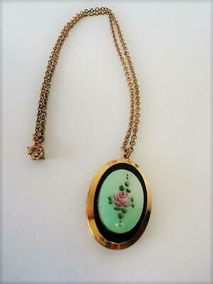 Vintage Locket Necklace Green Guilloche Enamel With Pink Rose Flower One Photo