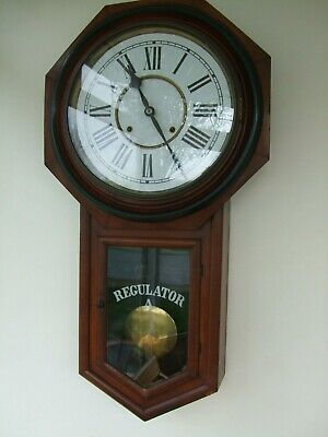Nice Antique Large American  Ansonia Regulator A Longdrop Clock June 1882 G.W.O.