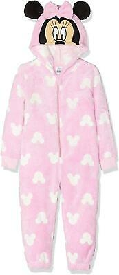 Girls HS2224 Disney Minnie Mouse Hooded Coral Fleece Sleepsuits / Pyjamas