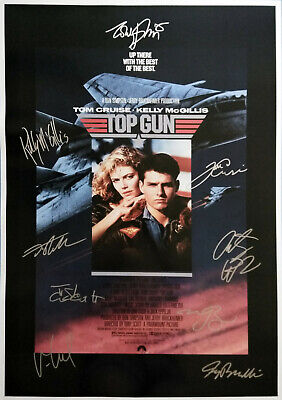 TOP GUN MOVIE Poster Signed by 9 cast members, Excellent condition replica
