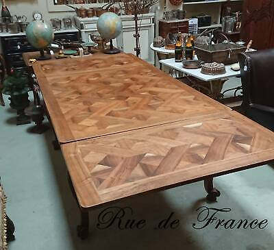 Vintage  Antique French Slab Parquetry Provincial Dining Table
