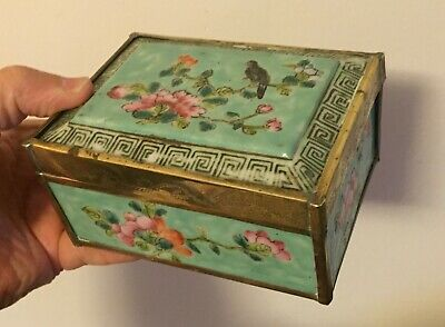 Antique Chinese Export Porcelain Box Famille Rose Brass Trim 19th century