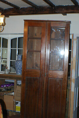 Lovely Tall Antique Glazed Bookcase Display Cabinet  Mahogany