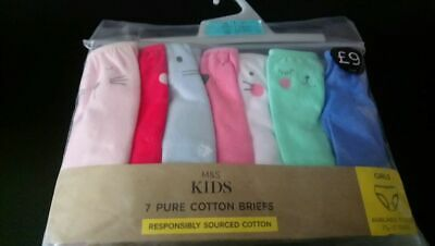 7  X Marks & Spencers Girls  Cotton Briefs    Bnwt.  Age 2-3  Rrp £8