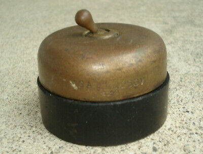 """Vtg HUBBELL Antique Brass Black On/Off Toggle Electrical Switch Round 2.5"""" Dia."""