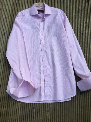 Marks & Spencer Luxury Collection Tailored Fit Pink Stripe Double Cuff Shirt 16""