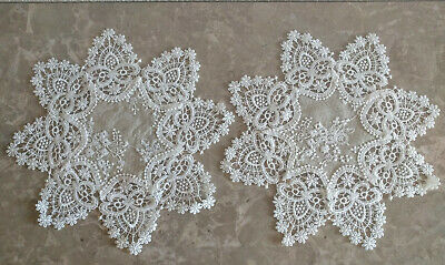 """Lace Doilies Set of TWO 12"""" Neutral Burlap Natural Taupe Antique Ivory Victorian"""