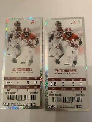 Alabama vs Tennessee Football Tickets 5 rows from field, 30 yard line Ala side