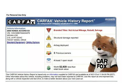 Carfax Authentic VIN Check - INSTANT