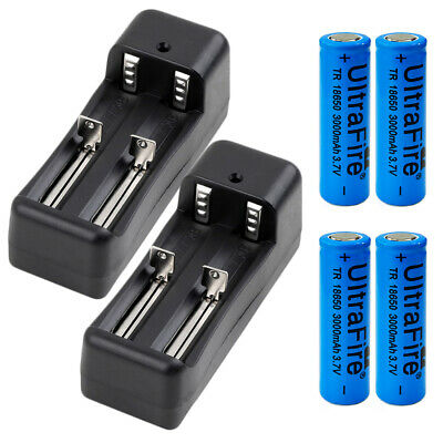 4pc 18650 Battery 3000mah Rechargeable 3.7V Li-ion Flat Top +2x Charger For Fan