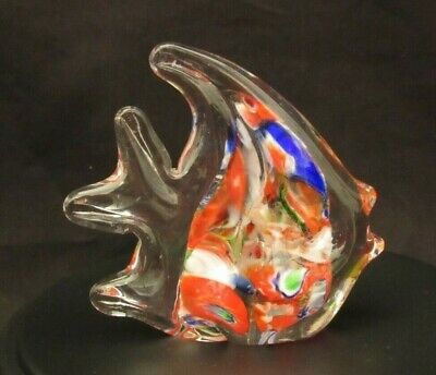 Rainbow Tropical Angel Fish Blue Red, Large Bubble Art Glass Blown Paperweight