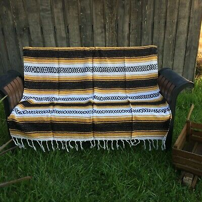 Brown Mustard Mexican Blanket  Falsa Woven Yoga Throw Sarape Seat Cover Rug
