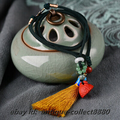 Chinese Cinnabar Lotus Seedpod/Cloisonne Enamel Necklace Pendant Yellow Tassels