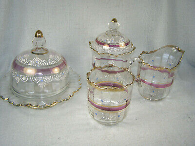 EAPG Early American Pattern Glass 4 Pc. Table Set -Sugar/Creamer/Spooner/Butter
