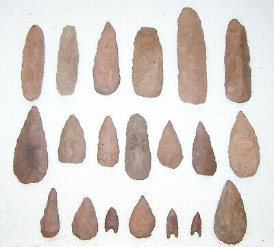 Collection of Neoltic stone knapped  axes and arrowheads - Niger