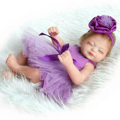 """Lovely 10"""" Reborn Baby Dolls Preemie Girl Silicone Full Body Bebe with Pacifier"""