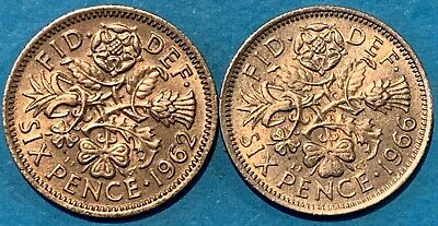 1962 & 1966 Great Britain GB 6p Six Pence World Coin UK English Rose