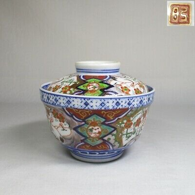 A155: Antique Meiji Japanese Imari Porcelain Lidded Rice Bowl Meshiwan Donburi