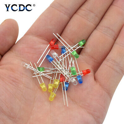 100Pcs 3mm 5mm Round Head 5 Colors Assorted LED Light Emitting Diodes Beads 643