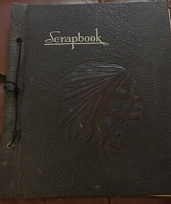 Vintage Indian Chief Head Embossed Scrapbook 1940s Ads News Cards Military +More