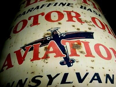 AIRPLANE GRAPHICS 1930s Vintage ATLANTIC AVIATION MOTOR OIL Old 5 qt Tin Oil Can