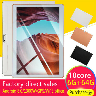 Pollici 4gb+64gb Tablet Pc Bluetooth 10.1 Android 8.1 Octa 10 Core Wifi 2 Sim