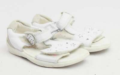 Clarks Girls UK Size 5.5 White Leather Sandals