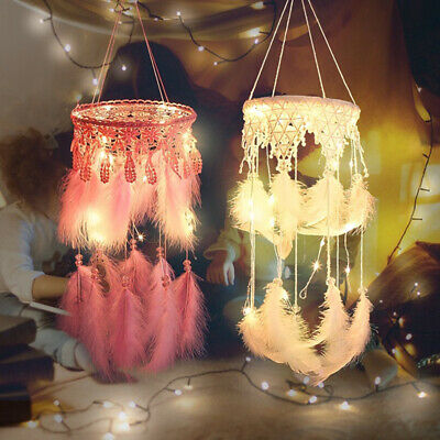 Handmade Dream Catcher LED Feather Car Home Wall Hanging Decoration White Color