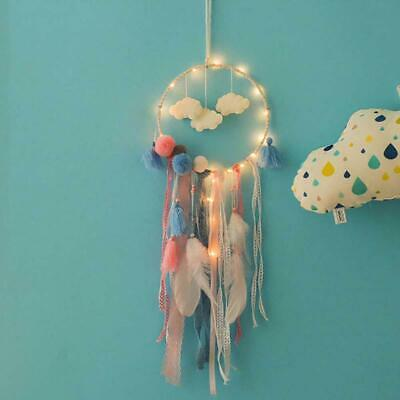 Handmade Cloud Dream Catcher LED Light with White Feather Wall Car Hanging Decor