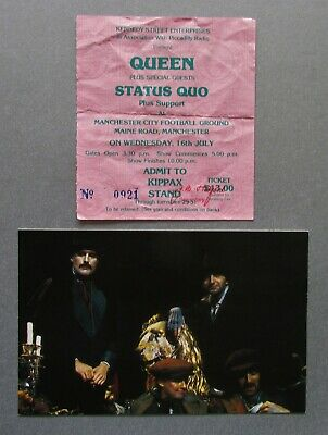 Queen Maine Rd Manchester Ticket Stub + Harp Card July 1986 Freddie Mercury