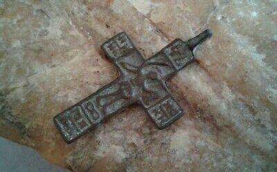 "ANTIQUE c.17th CENT. ORTHODOX ""OLD BELIEVERS"" CROSS ""ST. NIKITA DEFEATING DEVIL"""