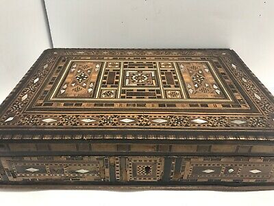 """Wood Inlay Marquetry Box Multi-tone Mother Of Pearl 12""""x 8""""x2.5"""" Vintage"""