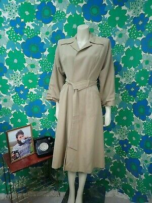 Z82 Ladies Vintage 1940's Coat Land Girl Utility WW2 Beige Size 8 Silk Lined