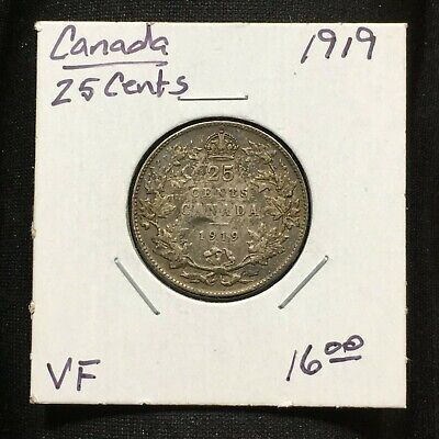 1919 Canada 25 Cents Coin, King George V, 0.925 Silver, Vf+