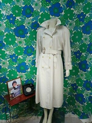Z83 Ladies Vintage Aquascutum Trench Coat Long Beige Mac Aqua 5 Size 12