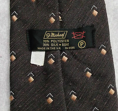 Vintage Tie MENS Necktie St Michael M&S Retro BROWN GOLDEN CREAM
