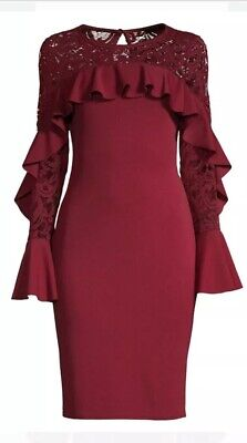 Quiz Dress New Bell Lace Sleeve Ruffle-Trimmed Sheath Deep Red U.K. 16 Do106