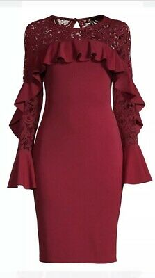 Quiz Dress New Bell Lace Sleeve Ruffle-Trimmed Sheath Deep Red U.K. 18 DO107
