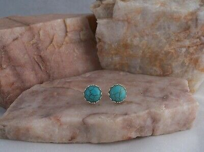 Lovely 10mm Turquoise Cabochon Silver Plated Stud Earrings.Handmade.