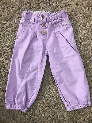 Girls Next Lilac Linen Cotton Mix Trousers Age 2-3 Y Vgc