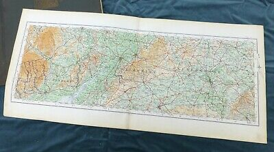 WEST OF ENGLAND, 1922 - GLOUCESTERSHIRE & THE COTSWOLDS, Vintage Cloth O.S. Map.