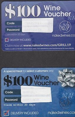 (2) $100 Wine Vouchers (Total Of $200) Naked Wines - Free Shipping