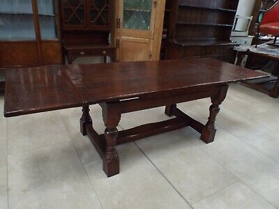 Fine Quality Solid Oak Draw Leaf Extending Refectory Dining Table ref2588