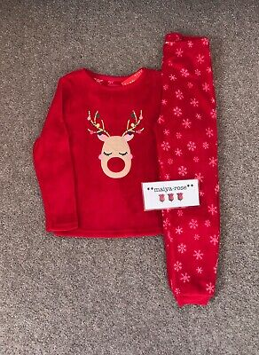 Primark Girls Christmas Pyjamas Rudolph Reindeer Fleece Nightwear 4-5 Years